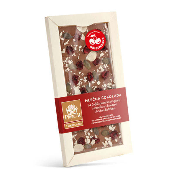 Mlečna čokolada sa liofilizovanom višnjom, semenkama bundeve i badem listićima