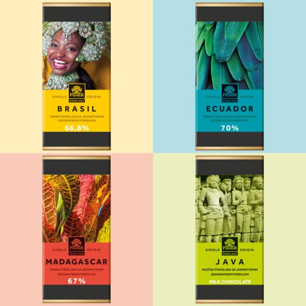 Selekcija čokolade sa poreklom – Madagaskar, Ekvador, Brazil, Java