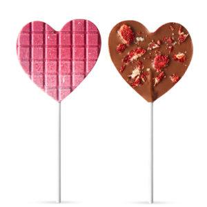 Čokoladne lizalice u obliku srca sa malinom i jagodom