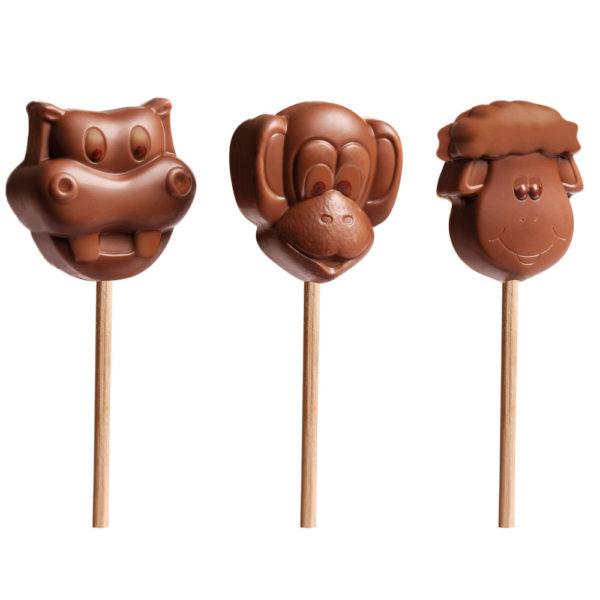 Čokoladne lizalice u obliku nilskog konja, majmuna i ovce