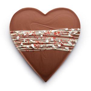 Mlečna čokolada u obliku srca sa dekoracijom