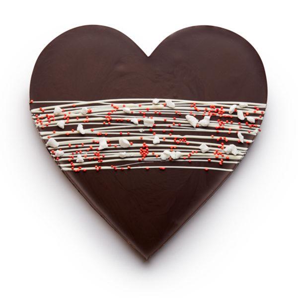 Tamna čokolada u obliku srca sa dekoracijom