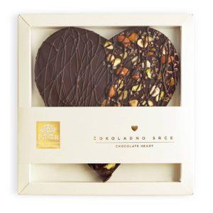 Dekorativno srce u tamnoj čokoladi sa voćem i kakao zrnom