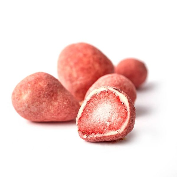Draže bombone sa liofilizovanom jagodom u beloj čokoladi