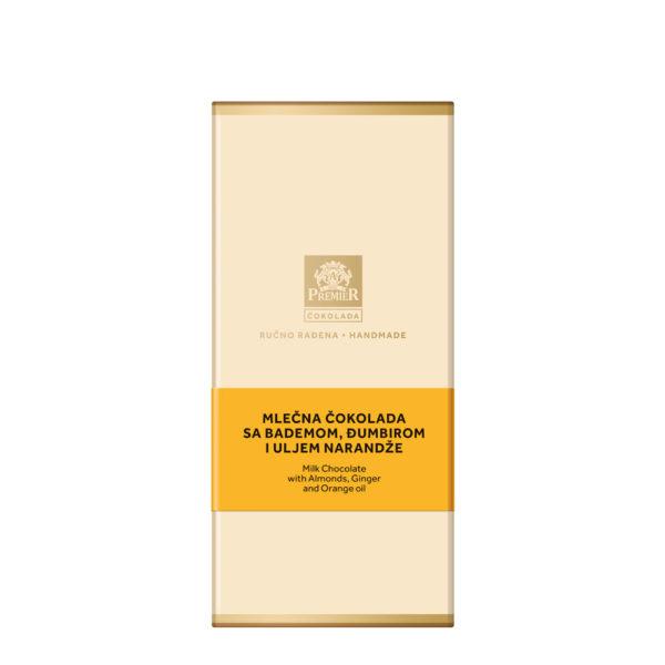 Omot Premier Mlečne Čokolada sa Bademom, Đumbirom i Uljem Narandže.
