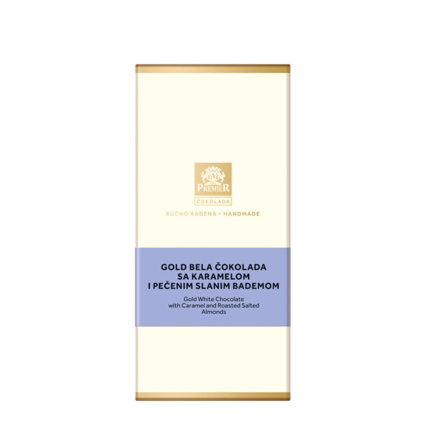 Omot Premier Gold Bele Čokolade sa Karamelom i Pečenim Slanim Bademom.